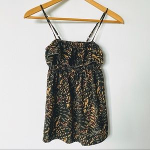 XS Black/brown Silky Cami with Tropical print